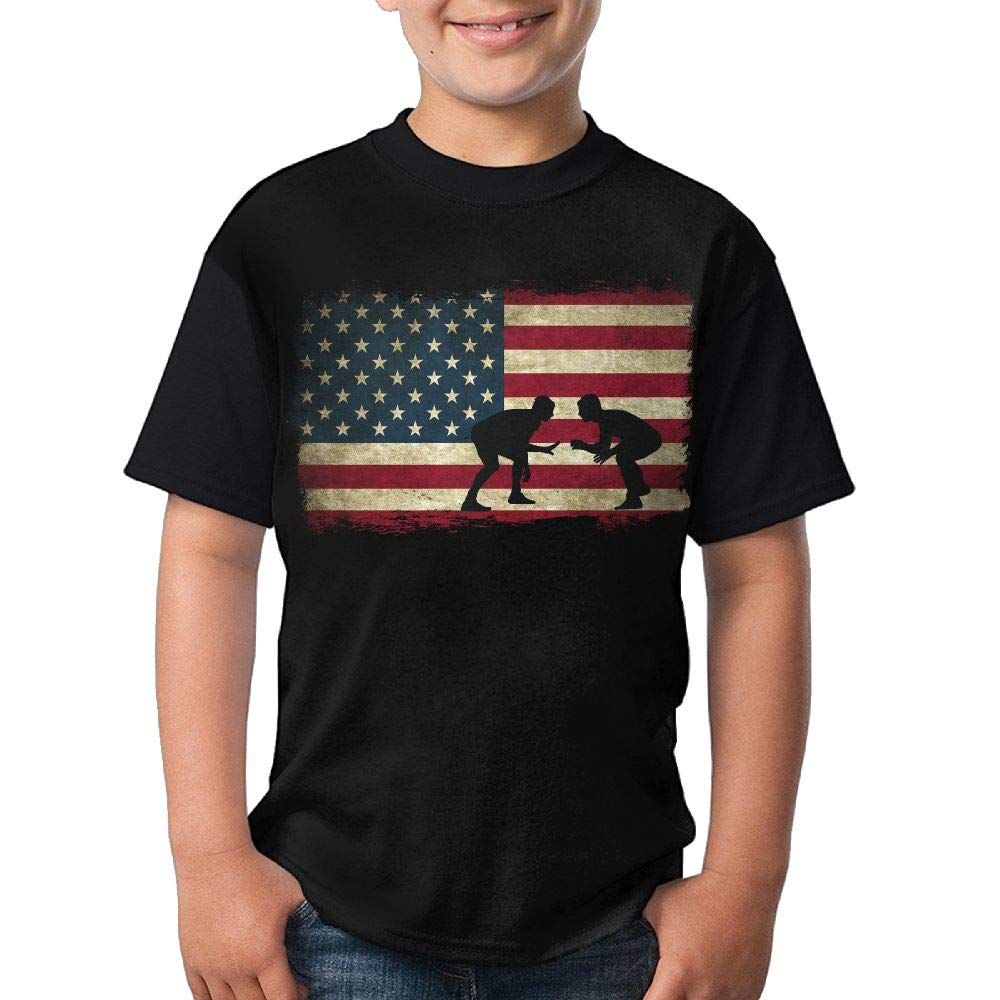 HUDS VIFV American Flag Wrestling Youth Crew Neck Short Sleeve T Shirts Tees