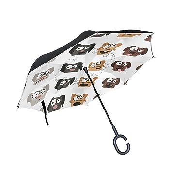 ALAZA doble capa puede diseño de animales de perro Emoji paraguas coches Reverse resistente al viento