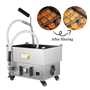 JIAWANSHUN 40LB/5.8Gallons Fryer Oil Filter Oil Filtration System for Fryer Oil Filtering Machine 300W 120-180? for Restaurant (110V)