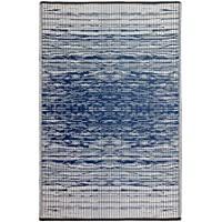 Fab Habitat Reversible, Indoor/ Outdoor Weather Resistant Floor Mat/Rug - Brooklyn - Blue (6 x 9)