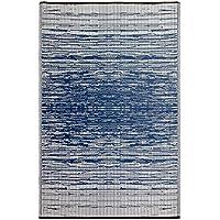 Fab Habitat Reversible, Indoor/ Outdoor Weather Resistant Floor Mat/Rug - Brooklyn - Blue (6' x 9')