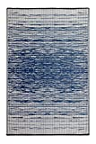 Fab Habitat Reversible, Indoor/ Outdoor Weather Resistant Floor Mat/Rug Brooklyn - Blue (6' x 9')