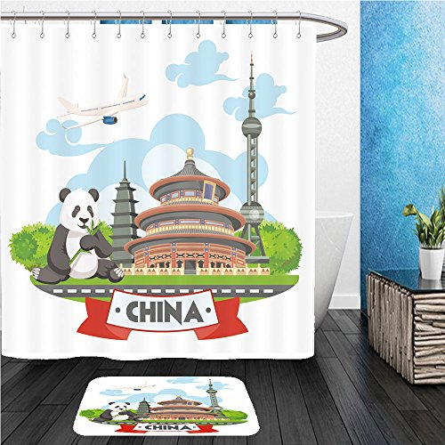 [Beshowereb Bath Suit: ShowerCurtian & Doormat china travel vector illustration chinese set with architecture food costumes traditional 461294983] (Mario Turtle Shell Costume)