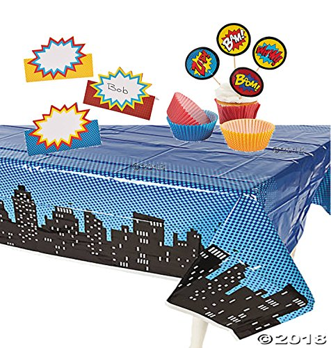 Fun Express Superhero Party Supply Bundle including 50 Cupcake Baking Cups and Picks, 24 Place Cards and Tablecover