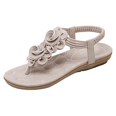 Damen Flach Zehentrenner Strandschuhe Sandalen Boho Stil Strand Schuhe Gold 42 KQIqegs8n0