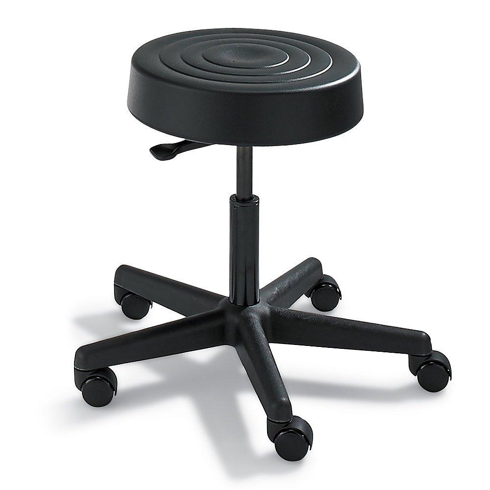 Bevco Padded Polyurethane Chair - 5-Star Black Plastic Base - 17-22'' Seat Height - Black - Black