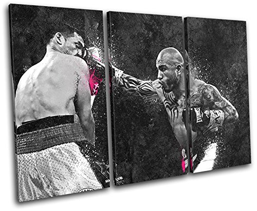 - Bold Bloc Design - Miguel Cotto Boxing Grunge Sports 150x100cm TREBLE Canvas Art Print Box Framed Picture Wall Hanging - Hand Made In The UK - Framed And Ready To Hang