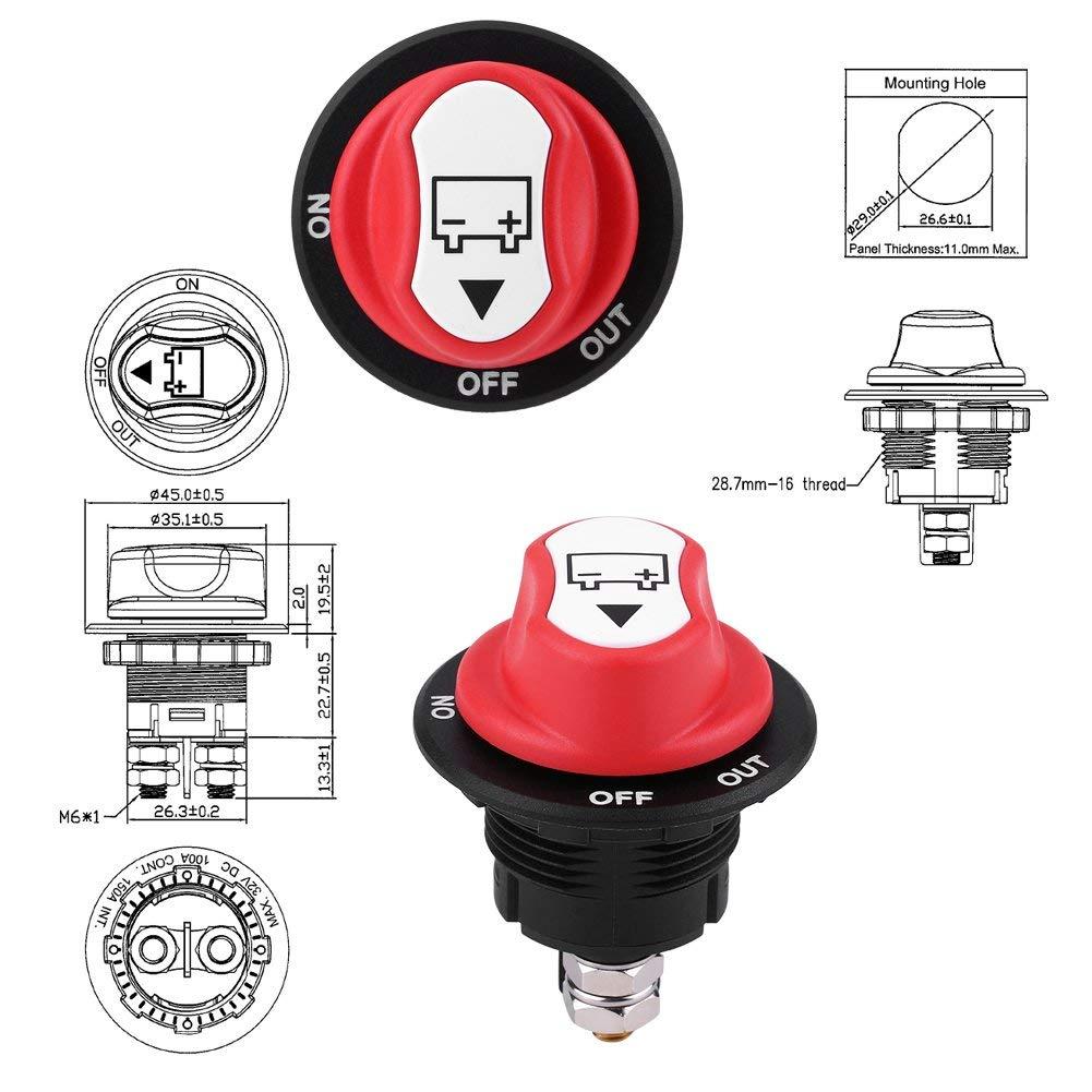 Batterie-Trennschalter 48 V ATV Fahrzeuge Power Master Cut//Shut Off Schalter Max 32 V 100 A CONT 150 A INT ON//OFF f/ür Boote Autobatterie-Trennschalter Wohnmobile 12 V