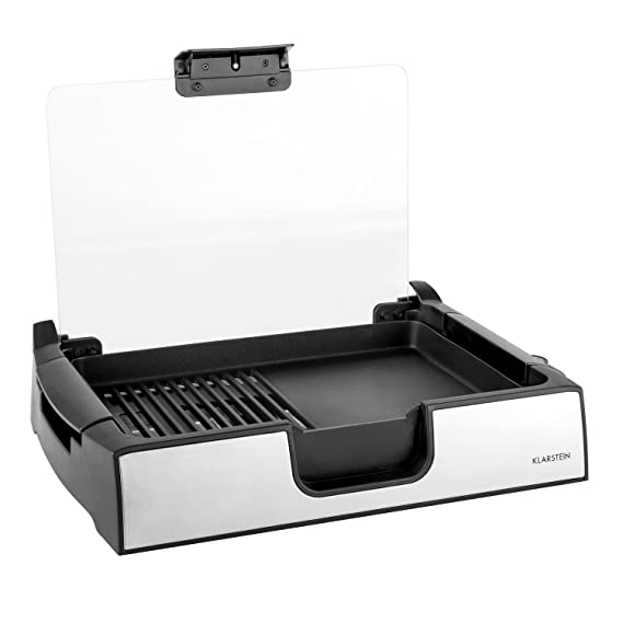 Klarstein Showmaster parrilla de sobremesa (asador de mesa, 1.500 W, hasta 250°C, antiadherente, acero inoxidable, cristal de seguridad) - plateado y ...