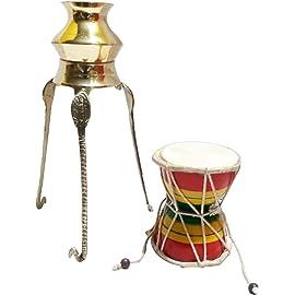 Santosh Bhakti Bhandar Brass Tripai-Lota for Shivling Milk and Water Abhishek with 1 Musical Handmade Damru