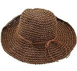 EXCHIC Women Sun Beach Straw Hat Wide Brim Foldable Summer Travel Cap (Dark Coffee)