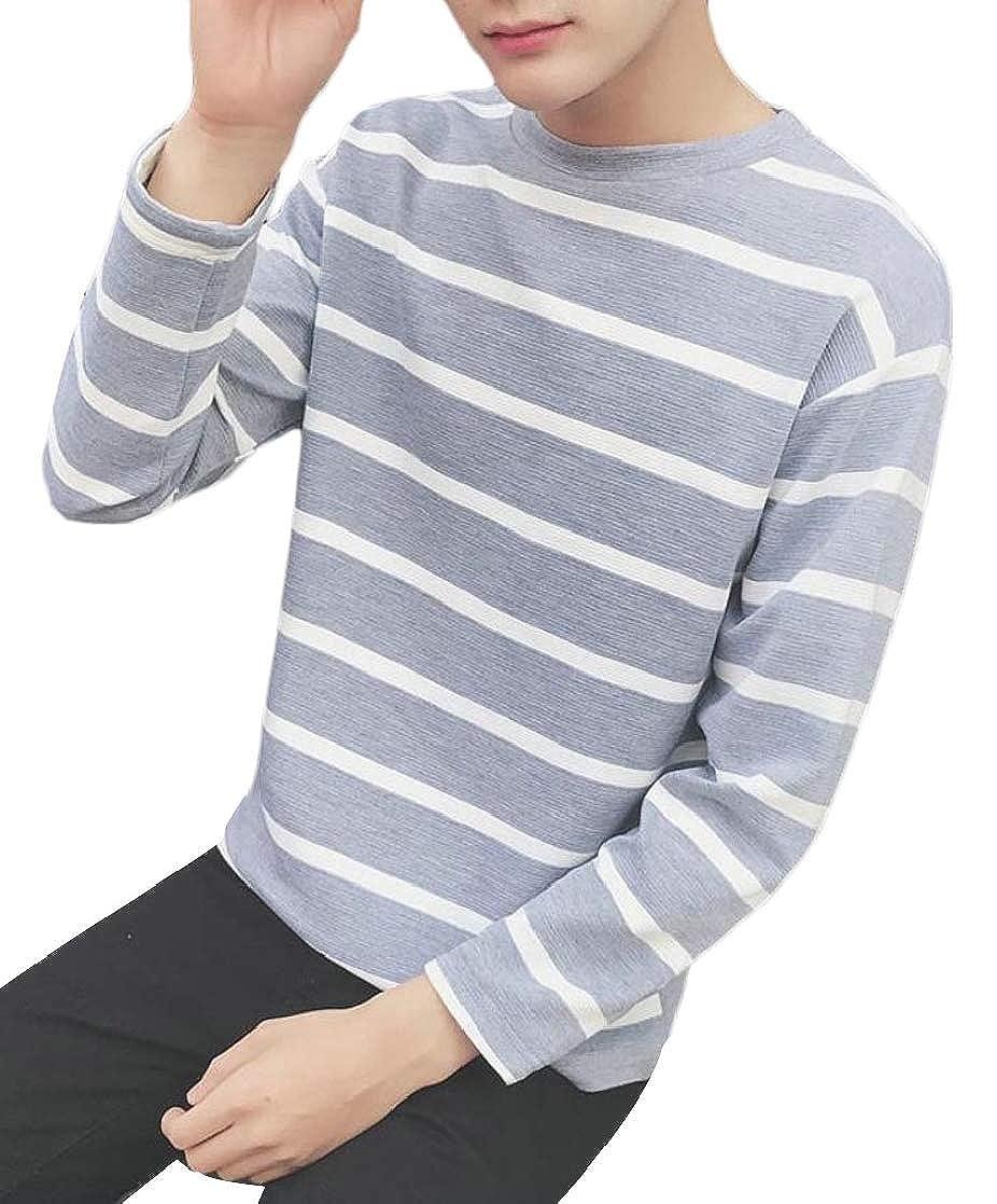 Macondoo Mens Long Sleeve Crew Neck Striped Tops Tee Shirts