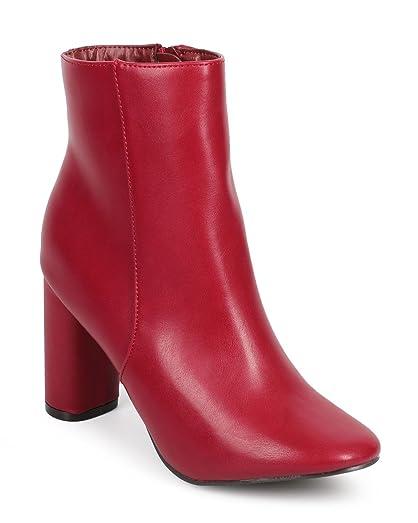 DE13 Women Leatherette Almond Toe Block Heel Tailored Ankle Bootie