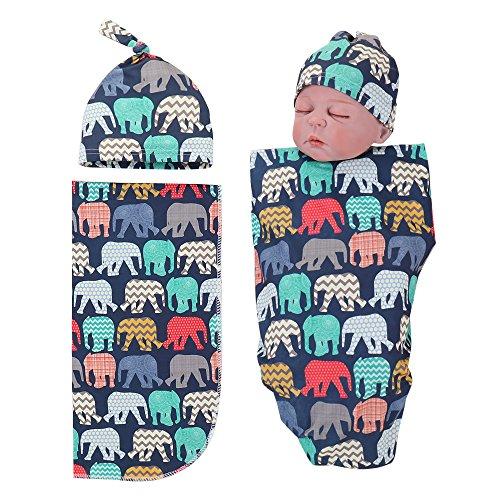 Newborn Receiving Blankets Elephant Baby Swaddle Wrap Soft Zoo Animals boy swaddling Blanket (A)