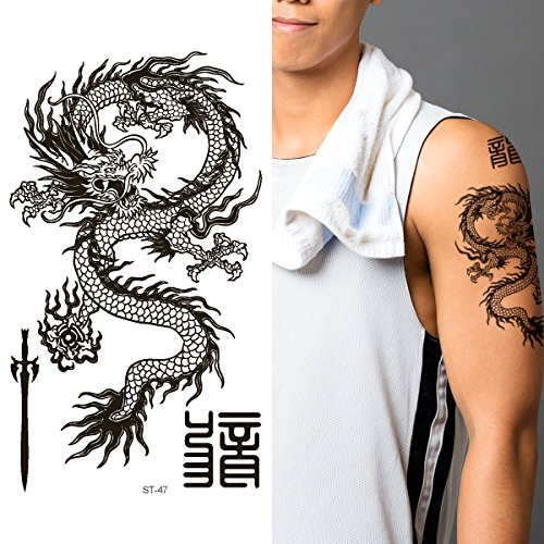 Chinese Dragon Face (Supperb Temporary Tattoos - Black & White Dragon (Set of)