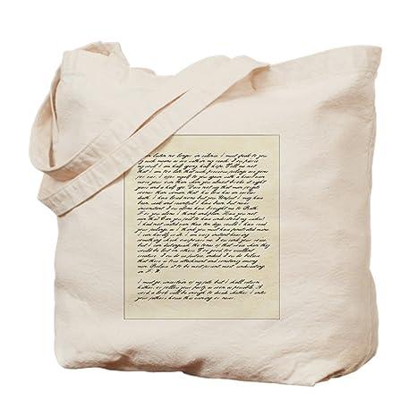 CafePress - Bolsa de tela de lona natural con texto de carta ...