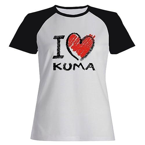 Idakoos I love Kuma chalk style - Nomi Femminili - Maglietta Raglan Donna