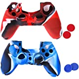 Amazingdeal365 2 Flexible Silicone Protective Case Skin Cover For Sony Playstation 4 Ps4 Controllers With 4 Joystick Thumb Stick Caps Blue2