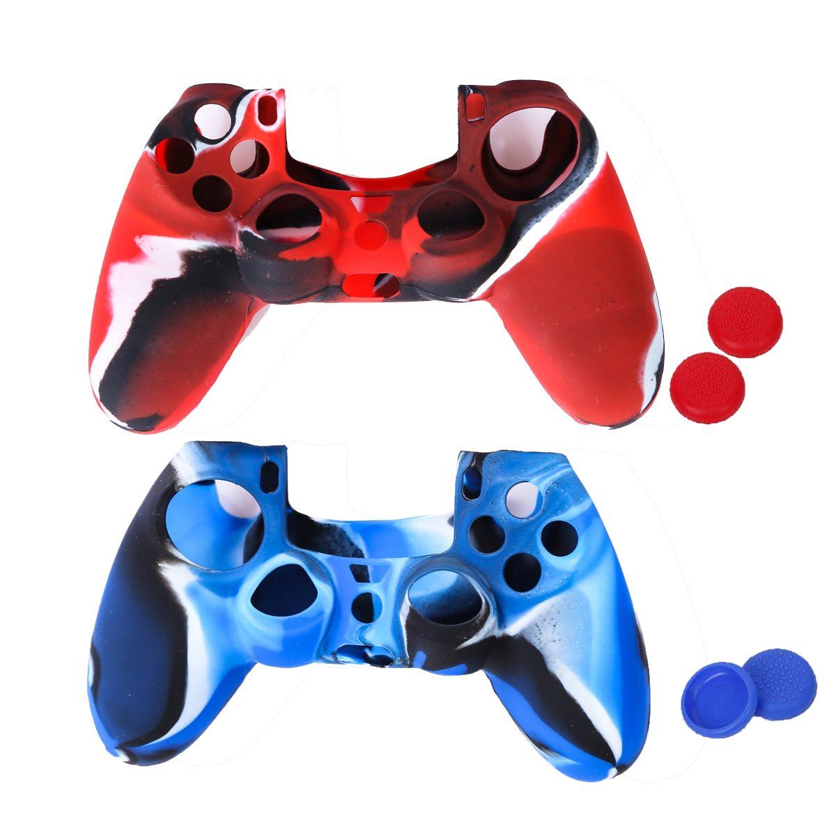 2 Flexible Silicone Protective Case Skin Cover for Sony PlayStation 4 PS4 Controllers with 4 Joystick Thumb stick Caps
