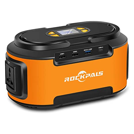 Rockpals Portable Power Station, 222Wh Gas Free Generator, 60000 Lithium  Power Supply with 110V/200W AC Outlet, QC3 0 USB,12V DC Ports, Solar