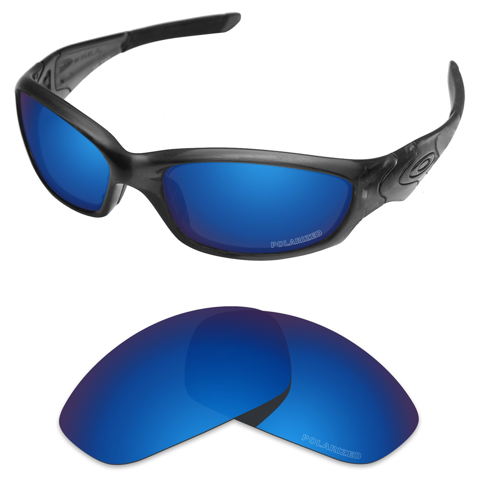 Tintart Performance Replacement Lenses for Oakley Straight Jacket 2007 Sunglass Polarized Etched-Sapphire Blue