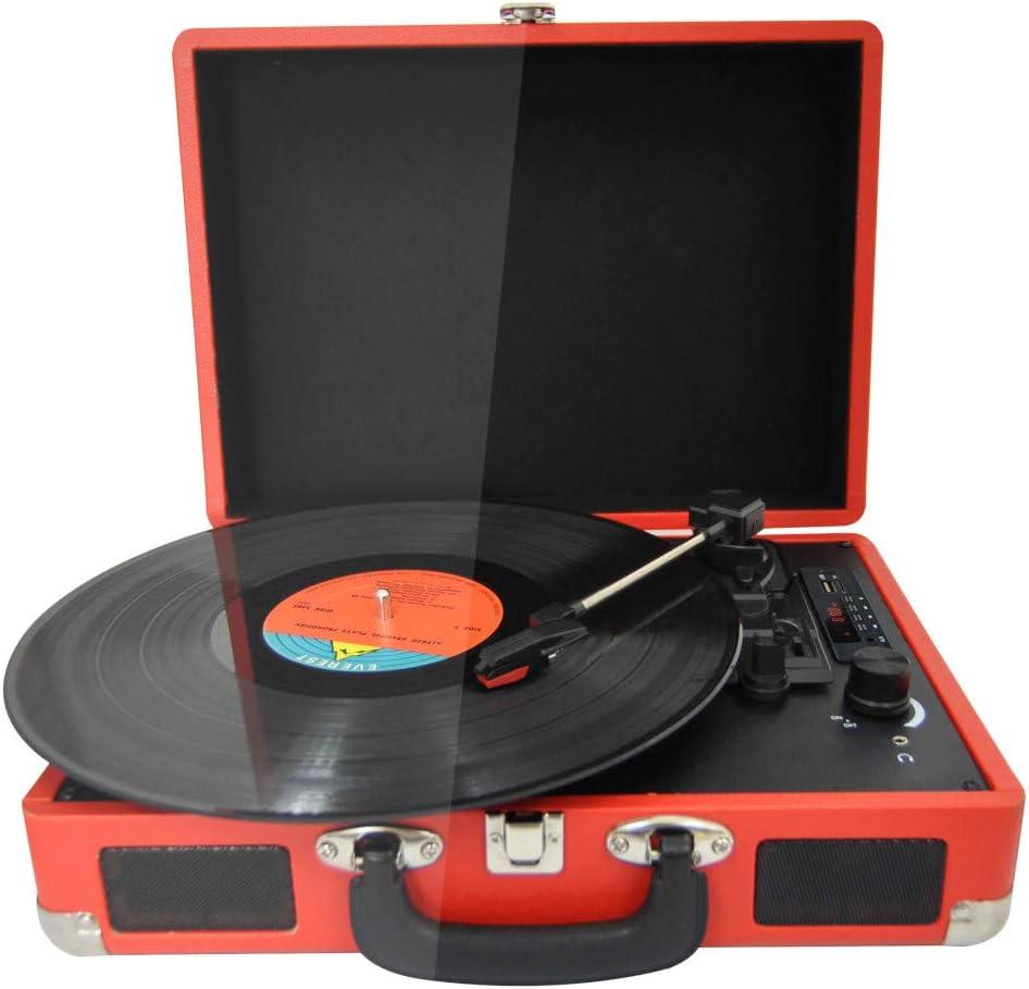 PRIXTON VC400 - Tocadiscos de Vinilo Vintage, Reproductor de Vinilo y Reproductor de Musica Mediante Bluetooth y USB, 2 Altavoces Incorporados, Diseño de Maleta, Color Rojo