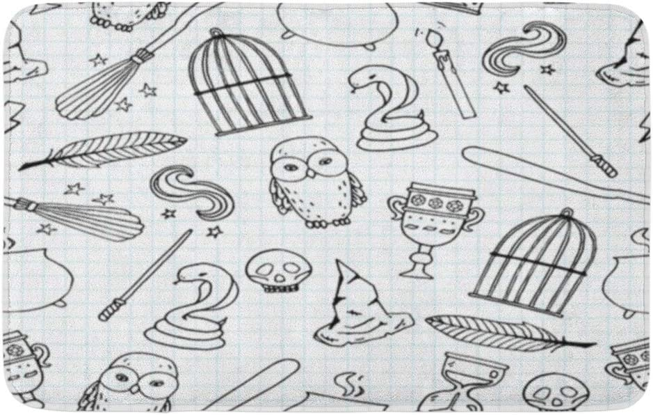 """Adowyee 20""""x30"""" Bath Mat Potter Different Witch Equipment Harry Pattern Birdcage Magic Wand Cozy Bathroom Decor Bath Rug with Non Slip Backing"""