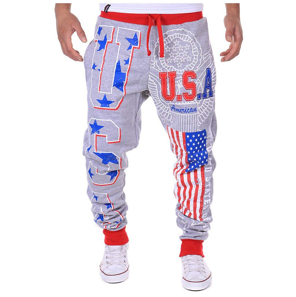 XL, Black Fewear American Flag Independence Day Comfy Casual Pants Floral Print Drawstring Lounge Pants Wide Leg