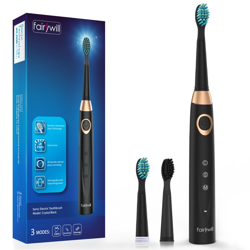 Sonic Electric Toothbrush Black, Fairywill Rechargeable Toothbrush for Adults, 3 Modes with 2 Min Build in Timer, Dentists recommend, Waterproof, Fast Usb Charging, Model FW-508