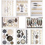 Letilio Temporary Tattoos Waterproof Stickers-Gold and Sliver,Over130Shimmer Flash tattoos (8 Sheets-Large)-Festival,Party,Concerts,Wedding