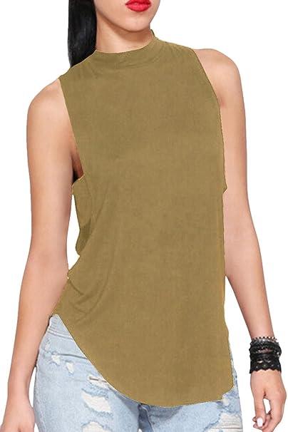f7cc93097f17 Cutiefox Women s Halter Neck Open Back Tops Backless Tank T-shirts Khaki  Size S