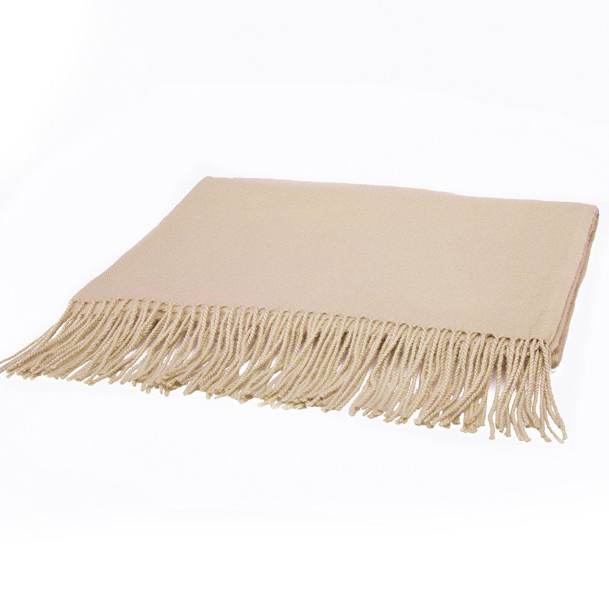 EVRFELAN Women Winter Warm Scarf Soft Cashmere Fringe Tassel Pashmina Pure Color Shawl Stole Wrap (Khaki)