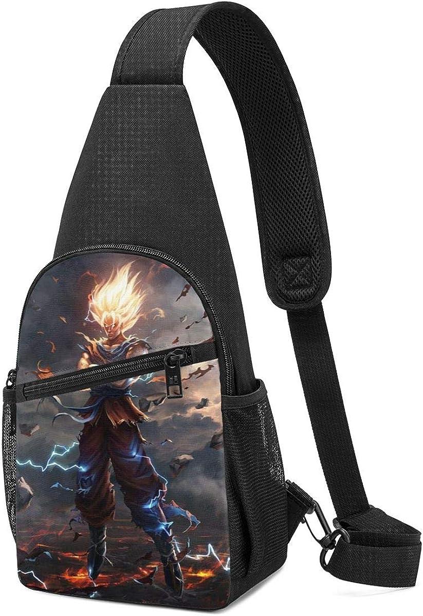 Mens Sling Bag Leather Chest Bag Shoulder Backpack Cross Body Travel, Majin Buu Frieza Dragon Ball FighterZ Goku Vegeta 8