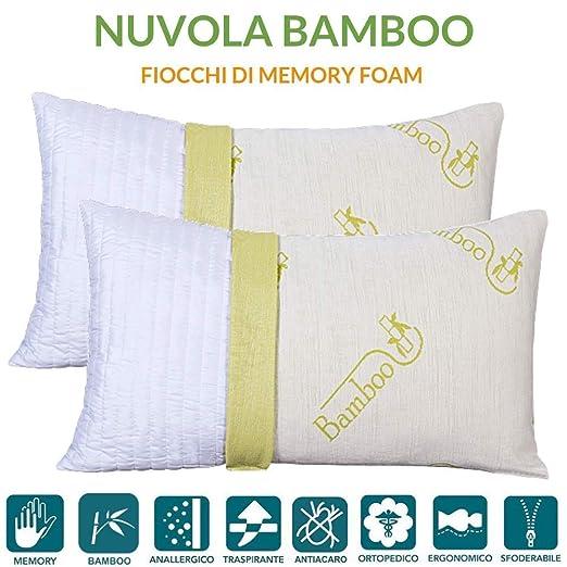 Evergreenweb – Par de Almohadas Almohada Viscoelástica de Bambú 40x70 Copo de Espuma para Cama o sofá, Cojines para Dolores cervicales, certificación ...