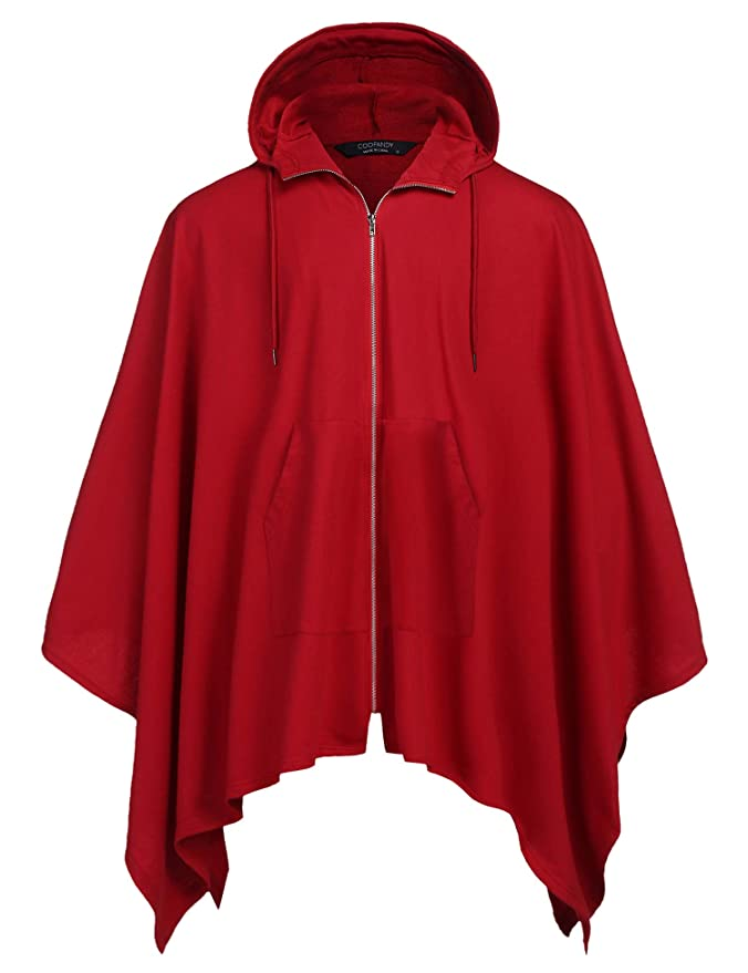 COOFANDY Men's Poncho Cape Hoodie Fashion Coat Cardigan Pullover Cloak