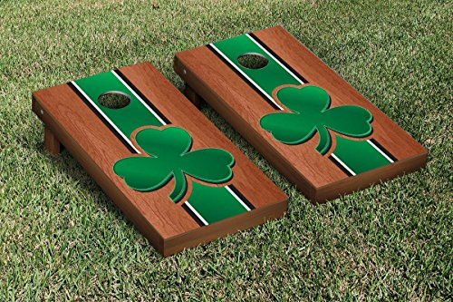NCAA Rosewood Stained Cornhole Game Set NCAA Team: Shamrock by Victory Tailgate
