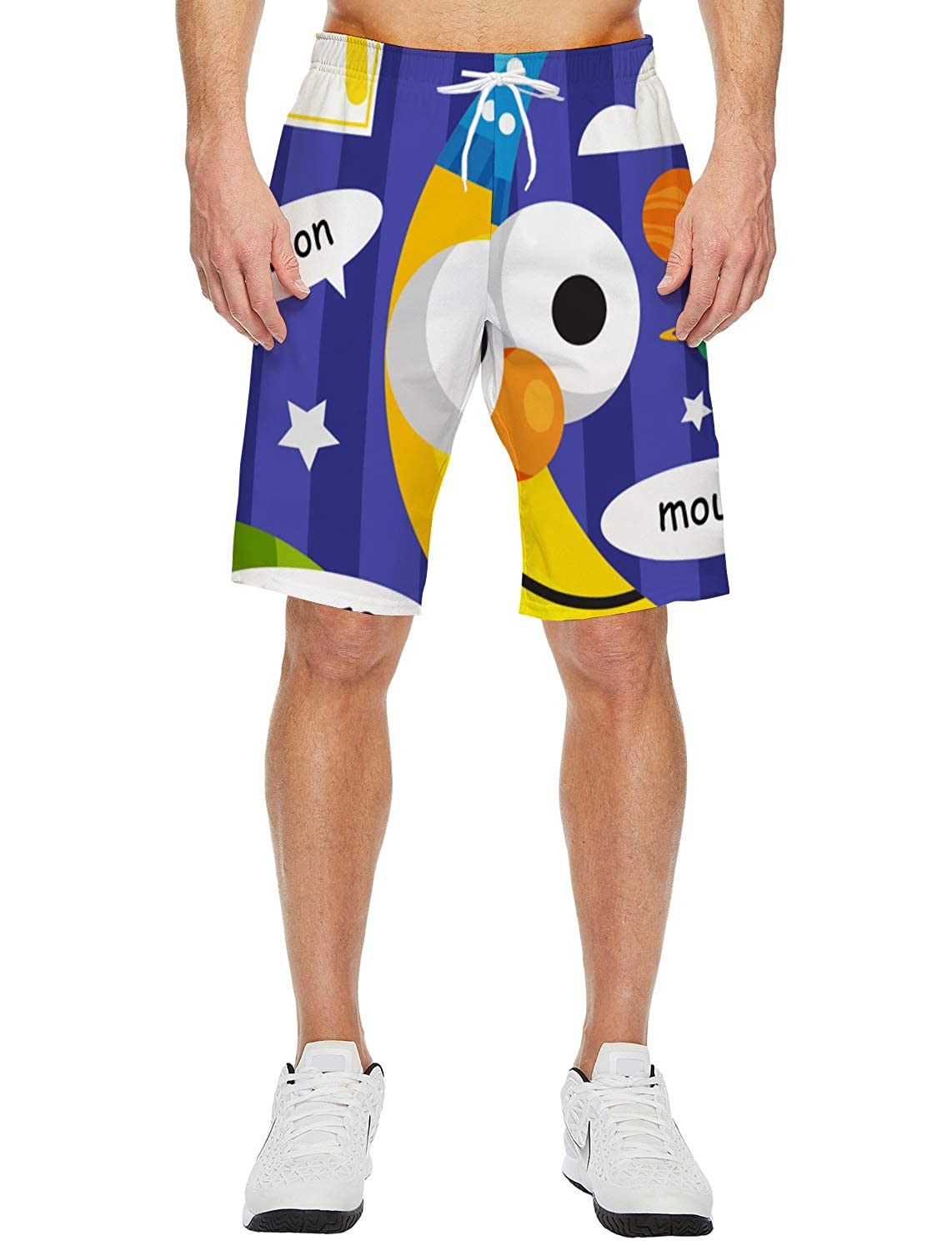 Fantasy Star Mens Lightweight Slim Fit Quick Dry Beach Shorts Alphabet Letter M Moon Surf Beach Pants with Mesh Lining