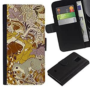 iKiki Tech / Cartera Funda Carcasa - Floral Pattern Yellow Mustard Vintage - Samsung Galaxy S5 Mini, SM-G800, NOT S5 REGULAR!