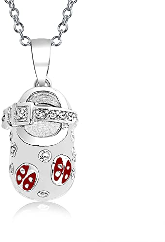 Sterling Silver CZ and White Enameled Heart Charm Pendant