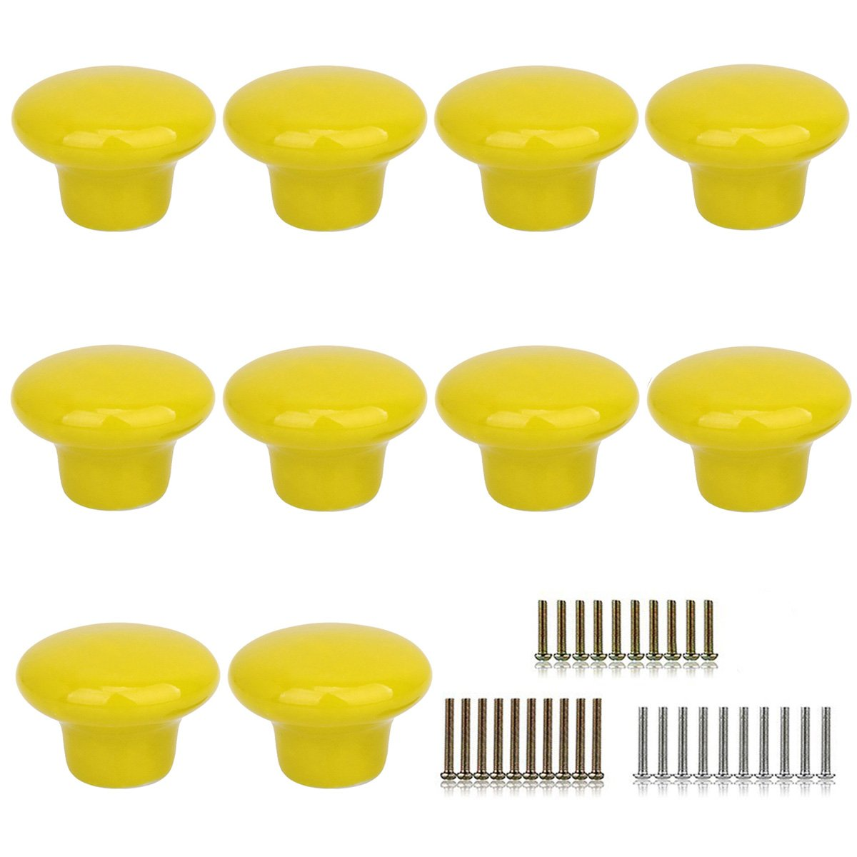 Marstree 10pcs Vintage Ceramic Door Knobs Round Shape Drawer Cupboard Locker Pulls Handles Wardrobe Drawer Cabinet Home Kitchen Hardware (Yellow)