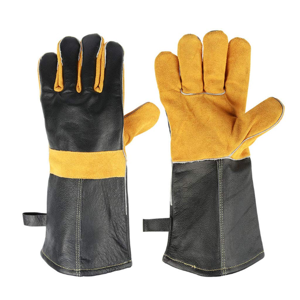 YHNUJMIK Barbecue Gloves Microwave Oven Gloves Insulated High Temperature Resistant Gloves Stitched Leather Cowhide Oven Welding Kitchen Black Yellow (39Cm)