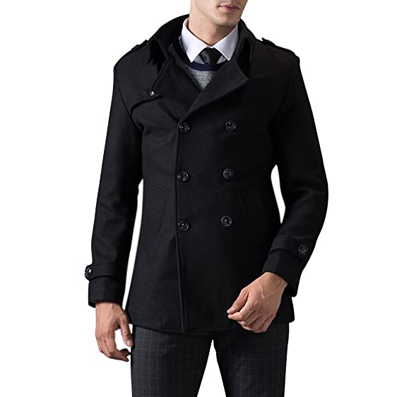 TAPOO Wool Blend Pea Coat Double-breasted Slim Fit Warm Winter ...