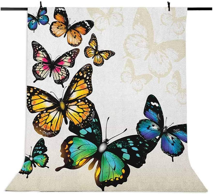 9x16 FT Butterfly Vinyl Photography Backdrop,Vivid Monarch Butterflies Flying Shades Shadows Dreamlike Artsy Fantasy Display Background for Photo Backdrop Baby Newborn Photo Studio Props