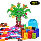 Geekper 600Pcs Building Blocks Set Early Education Toys with Storage Bag Plastic Building Discs STEM Toy for Kids Party Festival Gifts