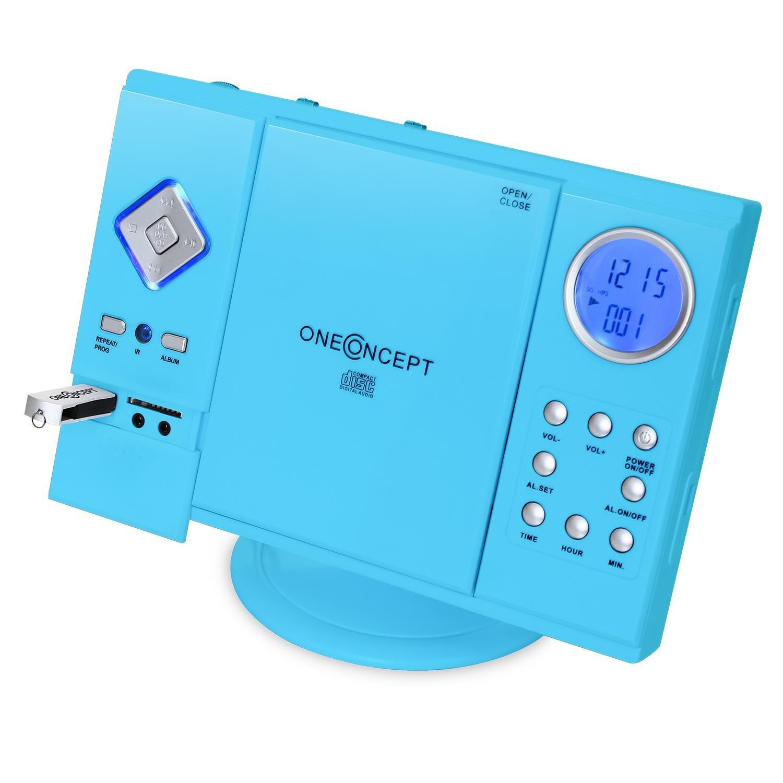 OneConcept V-12 • Chaîne stéréo • Tuner AM/FM • Lecteur CD • Finition laquée • Interface USB et SD • Entrée AUX • Horloge • Fonction révei • Montage Mural • Bleu
