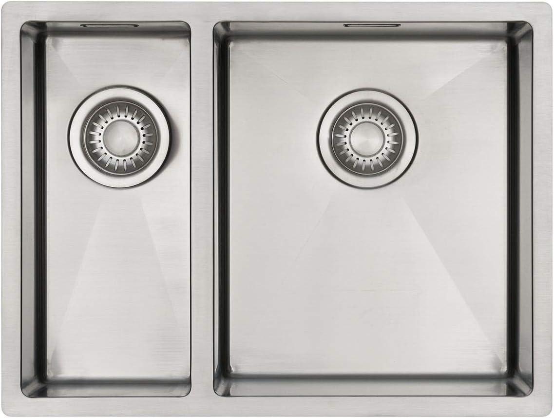 Appropri/é pour montage sous plan et affleurant Evier inox 2 bacs 59 cm Evier cuisine 2 bacs Mizzo Linea 1834