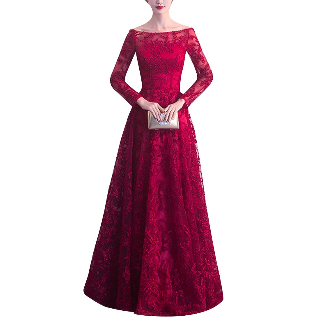 Women's Bridesmaid Dress Sleeveless Red Maxi Evening Prom Dresses (Size   XL)