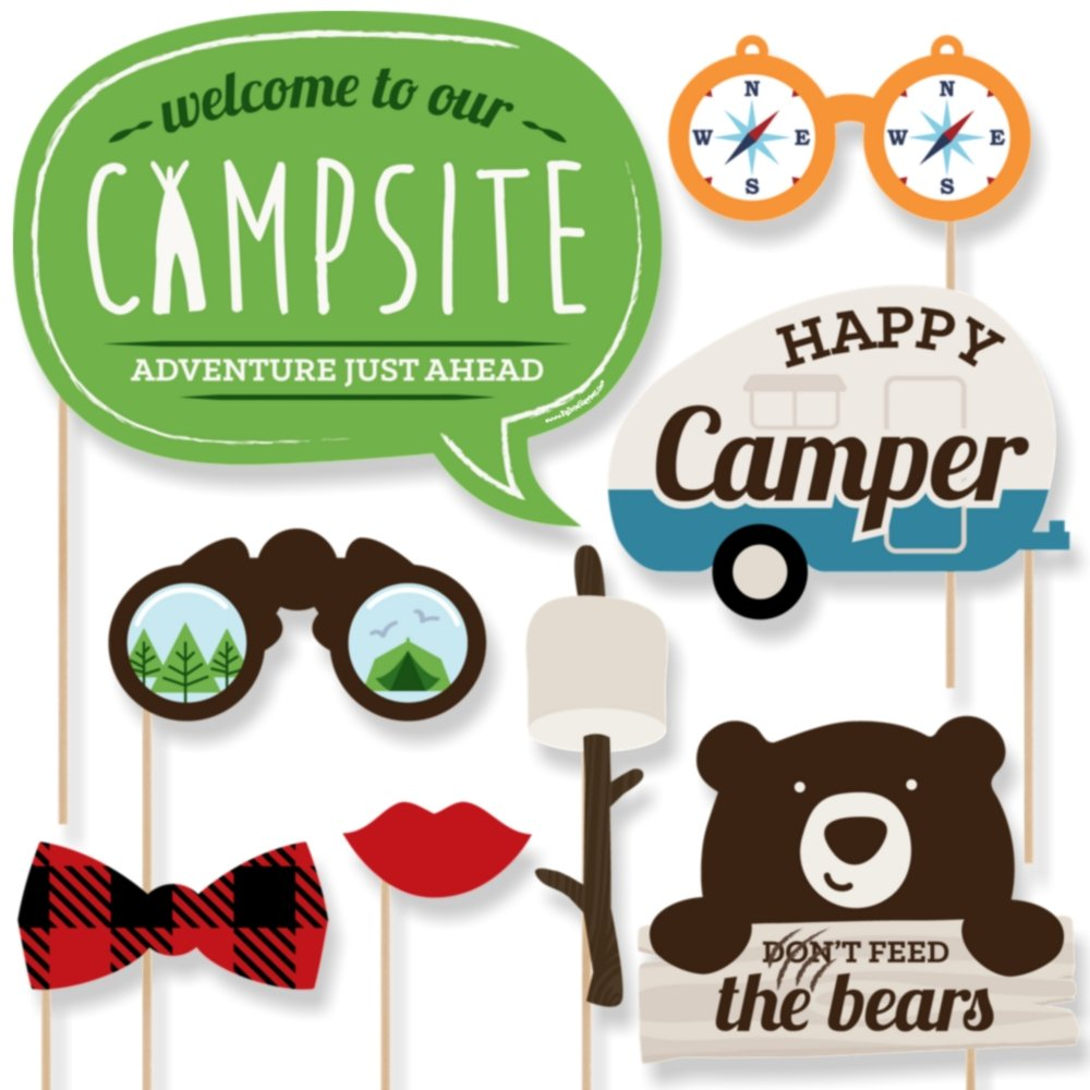 Camping Photo Booth Props Kit Big Dot of Happiness Happy Camper 20 Count