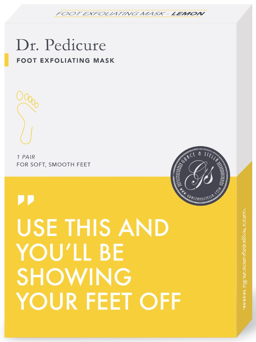 BEST Dr. Pedicure Foot Exfoliation Peeling Mask | For Smooth Baby Soft Feet, Dry Dead Skin Natural Treatment, Repair Rough Heels, Callus Remover, Soak Socks Booties, Get Gentle Feet, Lemon (1 Pair)