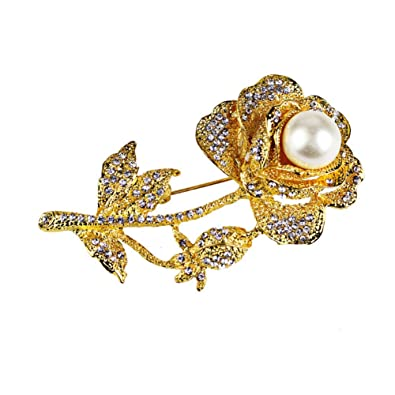 f071a59e41c Image Unavailable. Image not available for. Color: CHUYUN Gold Rose Flower  Pearl Brooch Pin Garment Accessories Wedding Bridal Jewelry Crystal Brooches  ...